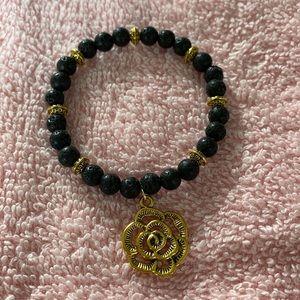 Camellia lava beads bracelet